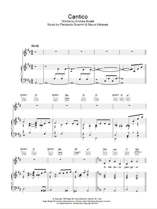 Cantico Sheet Music