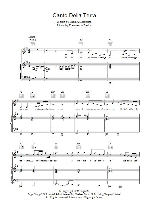 Canto Della Terra Sheet Music