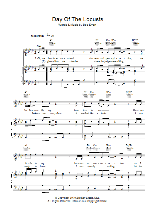 Day Of The Locusts (Piano, Vocal & Guitar)