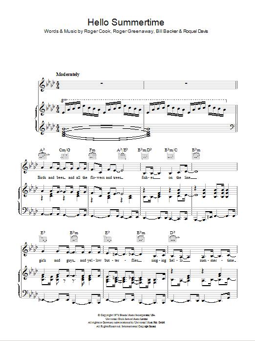 Hello Summertime (Piano, Vocal & Guitar)