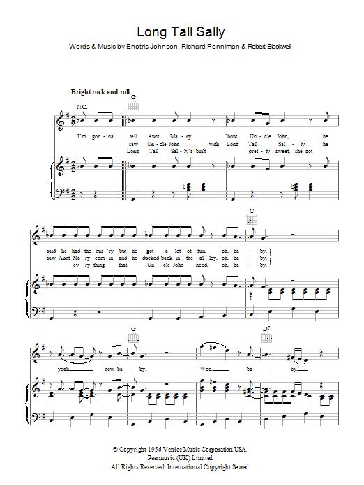 Long Tall Sally | Sheet Music Direct