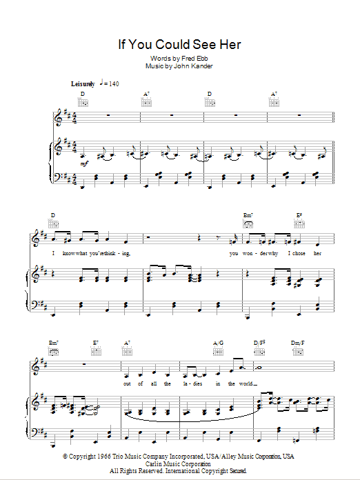 If You Could See Her (from Cabaret) Sheet Music