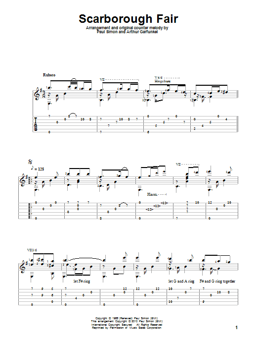 Scarborough Fair | Simon & Garfunkel | Guitar Tab