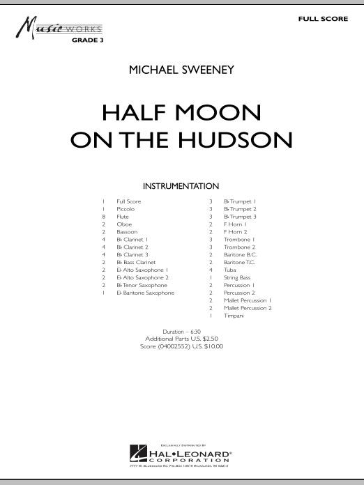 Half Moon On The Hudson (COMPLETE) sheet music for concert band by Michael Sweeney. Score Image Preview.