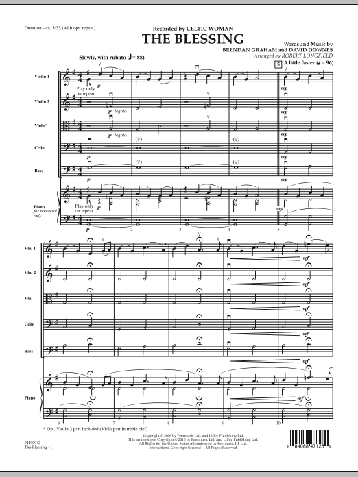 The Blessing (COMPLETE) sheet music for orchestra by Robert Longfield, Brendan Graham, Celtic Woman and David Downes. Score Image Preview.