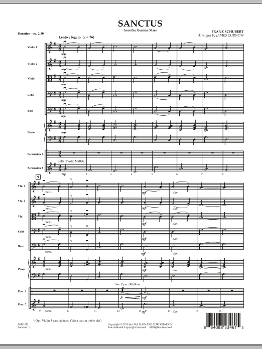 Sanctus (from German Mass) (COMPLETE) sheet music for orchestra by James Curnow and Franz Schubert. Score Image Preview.