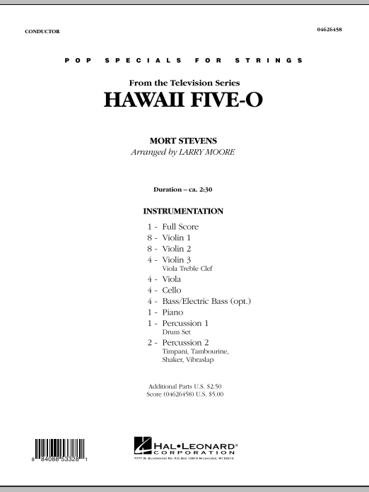 Hawaii Five-O (COMPLETE) sheet music for orchestra by Larry Moore, Mort Stevens and The Ventures. Score Image Preview.