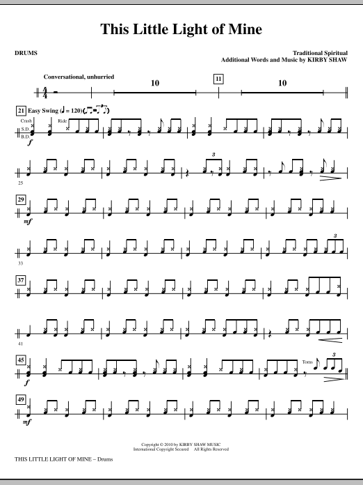 This Little Light Of Mine - Drums Sheet Music | Kirby Shaw | Choral ...