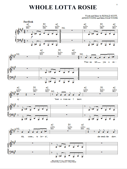 Whole Lotta Rosie (Piano, Vocal & Guitar (Right-Hand Melody))