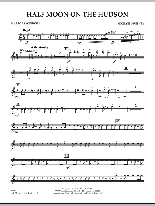 Half Moon On The Hudson - Eb Alto Saxophone 1 (Concert Band)