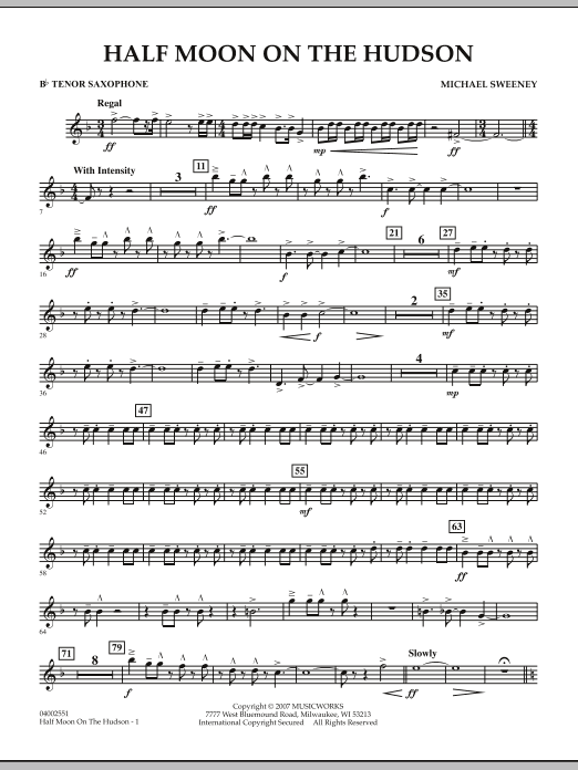 Half Moon On The Hudson - Bb Tenor Saxophone (Concert Band)