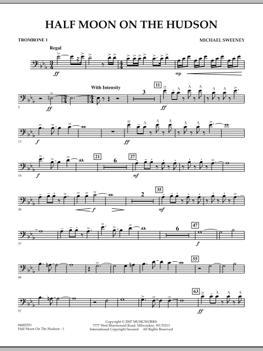 Half Moon On The Hudson - Trombone 1 (Concert Band)