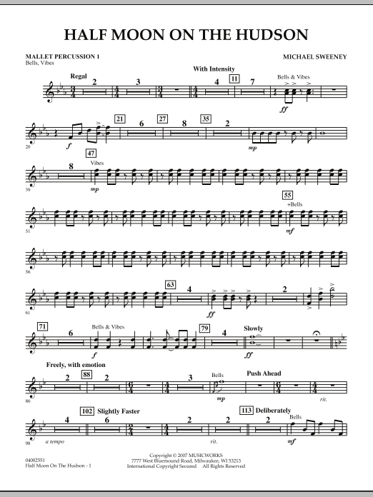 Half Moon On The Hudson - Mallet Percussion 1 (Concert Band)