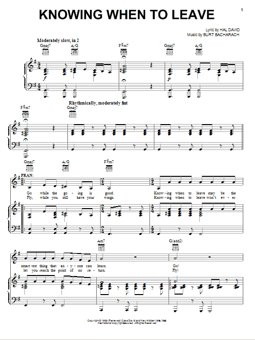 Knowing When To Leave (Piano, Vocal & Guitar (Right-Hand Melody))