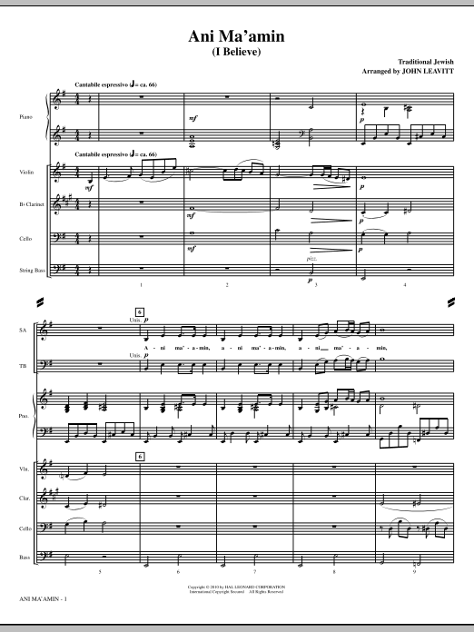 Ani Ma'amin (I Believe) (complete set of parts) sheet music for orchestra/band (Special) by John Leavitt and Miscellaneous. Score Image Preview.