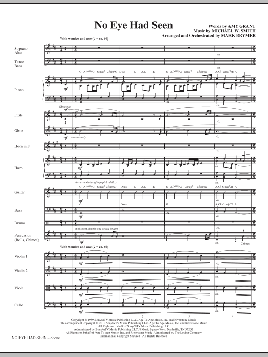 No Eye Had Seen (complete set of parts) sheet music for orchestra/band (chamber ensemble) by Mark Brymer, Amy Grant and Michael W. Smith. Score Image Preview.