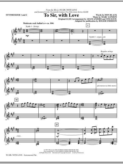 To Sir, With Love (complete set of parts) sheet music for orchestra/band (Rhythm) by Roger Emerson, Adam Anders, Don Black, Glee Cast, Lulu, Marc London and Miscellaneous. Score Image Preview.