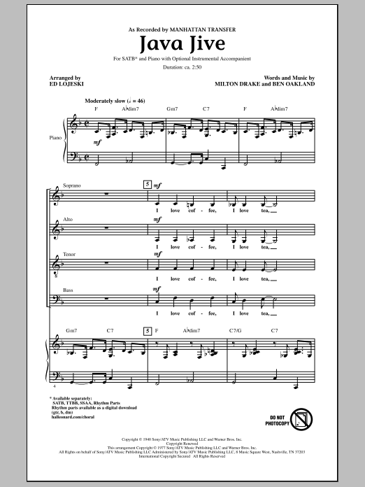 Java Jive Sheet Music
