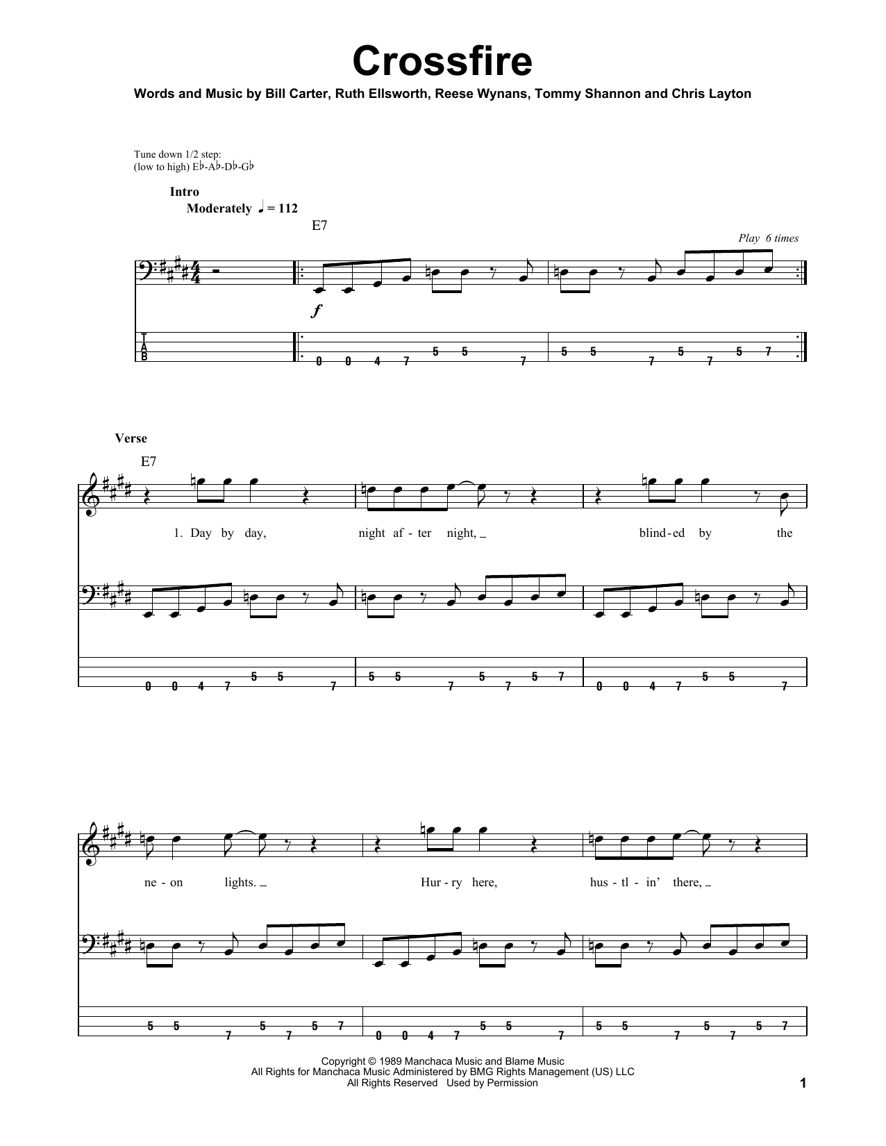 Tablature guitare Crossfire de Stevie Ray Vaughan - Tablature Basse