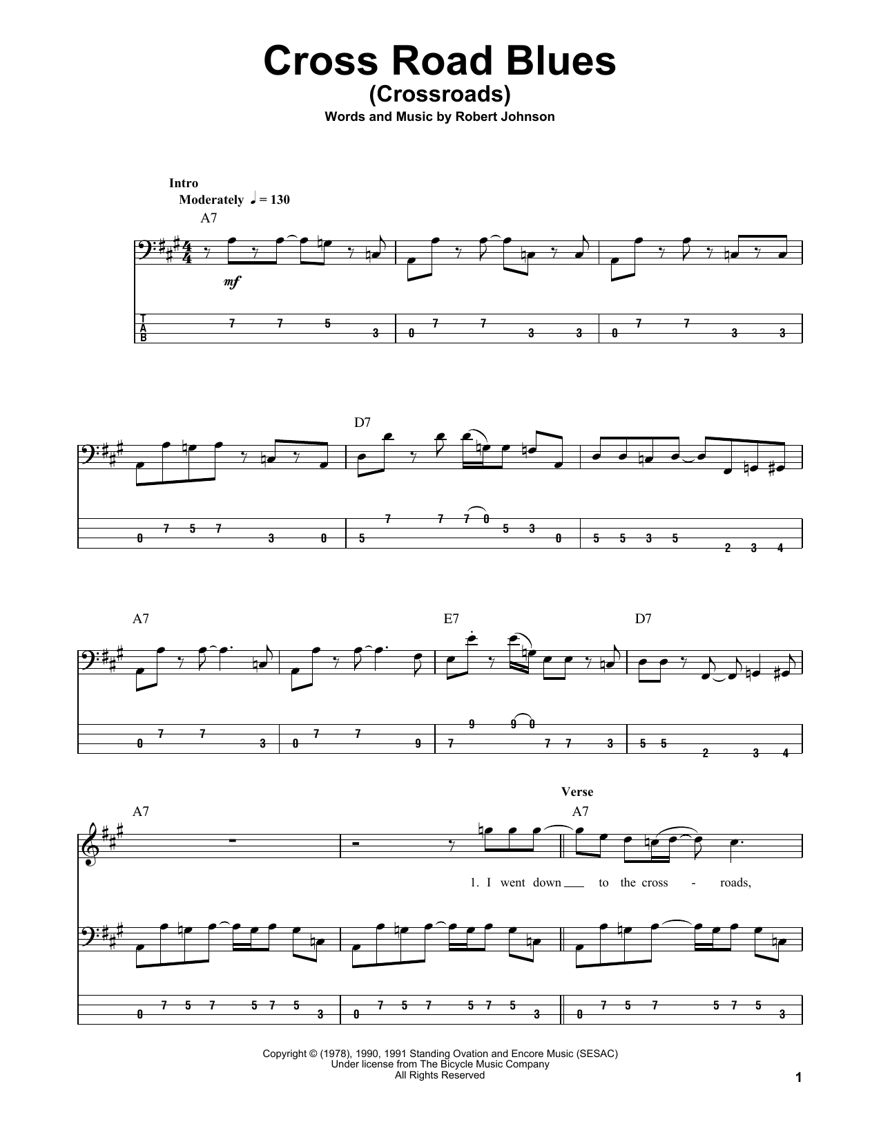 Cross Road Blues (Crossroads) (Bass Guitar Tab)
