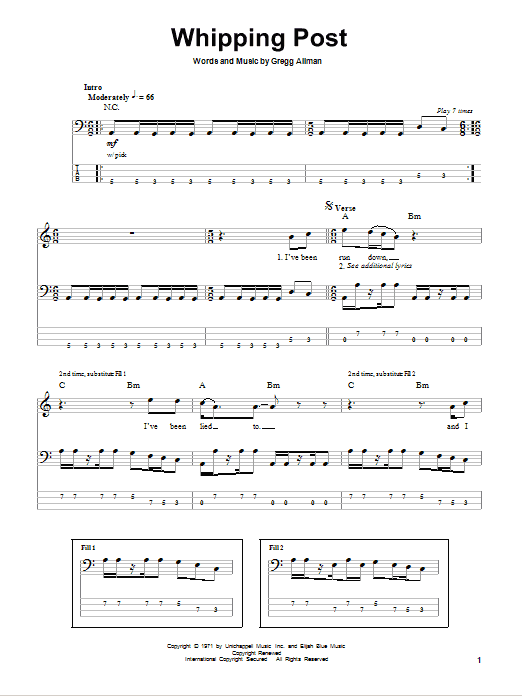 Whipping Post Sheet Music