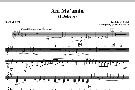 Ani Ma'amin (I Believe) - Bb Clarinet Sheet Music
