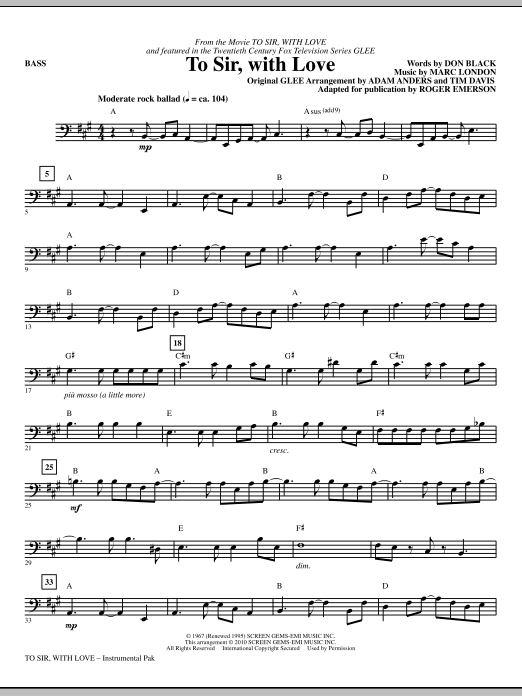 To Sir, With Love - Bass Sheet Music