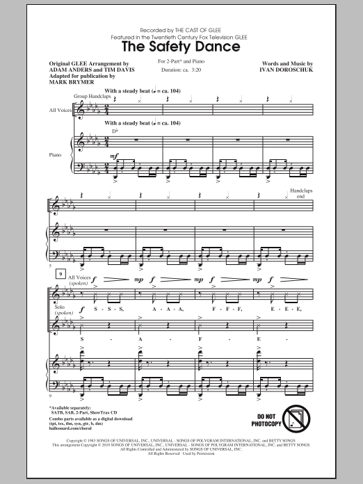 The Safety Dance (2-Part Choir)