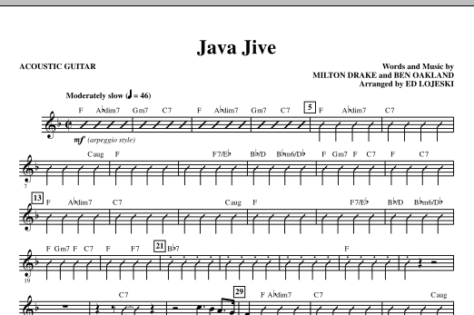 Java Jive (SATB Octavo Accompaniment Parts) (complete set of parts) sheet music for orchestra/band (Rhythm) by Ed Lojeski, Ben Oakland, Manhattan Transfer and Milton Drake. Score Image Preview.