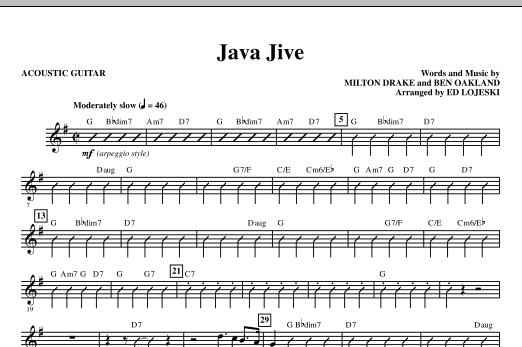 Java Jive (TTBB Octavo Accompaniment Parts) (complete set of parts) sheet music for orchestra/band (Rhythm) by Milton Drake, Ben Oakland, Ed Lojeski and Manhattan Transfer. Score Image Preview.
