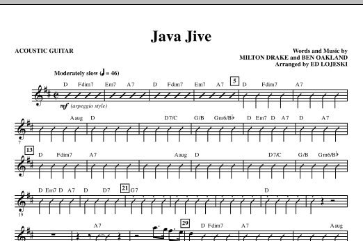 Java Jive (SSAA Octavo Accompaniment Parts) (complete set of parts) sheet music for orchestra/band (Rhythm) by Ed Lojeski, Ben Oakland, Manhattan Transfer and Milton Drake. Score Image Preview.