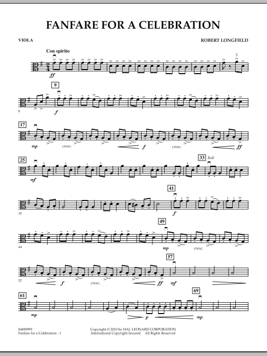 Fanfare For A Celebration - Viola (Orchestra)