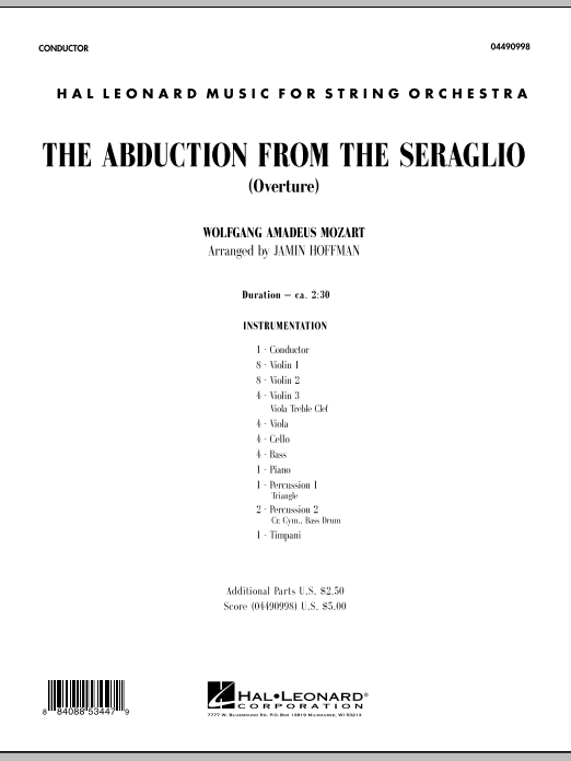The Abduction From The Seraglio (Overture) (COMPLETE) sheet music for orchestra by Wolfgang Amadeus Mozart and Jamin Hoffman. Score Image Preview.