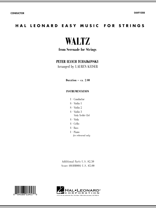 Waltz (from Serenade For Strings) (COMPLETE) sheet music for orchestra by Lauren Keiser and Pyotr Ilyich Tchaikovsky. Score Image Preview.