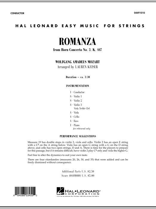 Romanza (from Horn Concerto No. 3, K. 447) (COMPLETE) sheet music for orchestra by Wolfgang Amadeus Mozart. Score Image Preview.