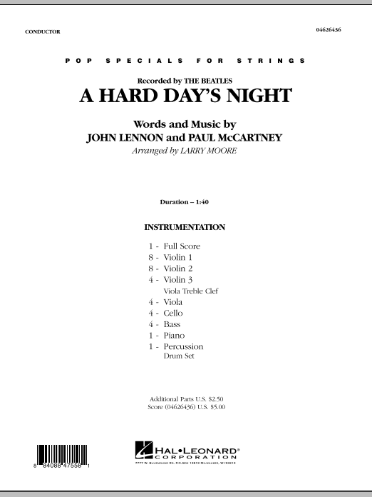 A Hard Day's Night (COMPLETE) sheet music for orchestra by Larry Moore, John Lennon, Paul McCartney and The Beatles. Score Image Preview.