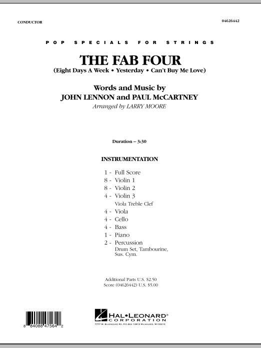 The Fab Four (COMPLETE) sheet music for orchestra by Larry Moore, John Lennon, Paul McCartney and The Beatles. Score Image Preview.