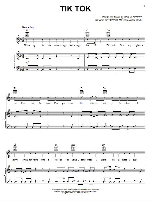 Partition piano Tik Tok de Ke$ha - Piano Voix Guitare (Mélodie Main Droite)