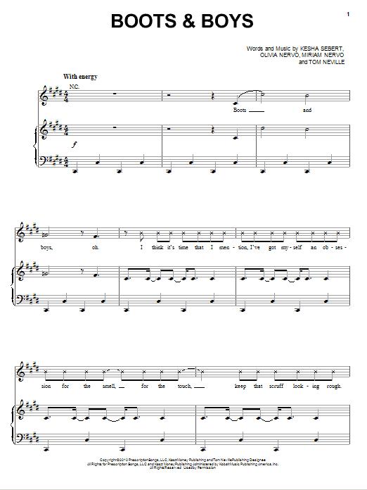 Partition piano Boots & Boys de Ke$ha - Piano Voix Guitare (Mélodie Main Droite)