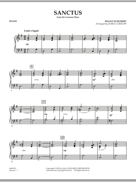 Sanctus (from German Mass) - Piano (Orchestra)