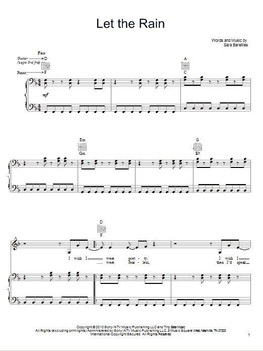 Partition piano Let The Rain de Sara Bareilles - Piano Voix Guitare (Mélodie Main Droite)