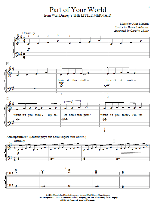 Part Of Your World (Educational Piano)