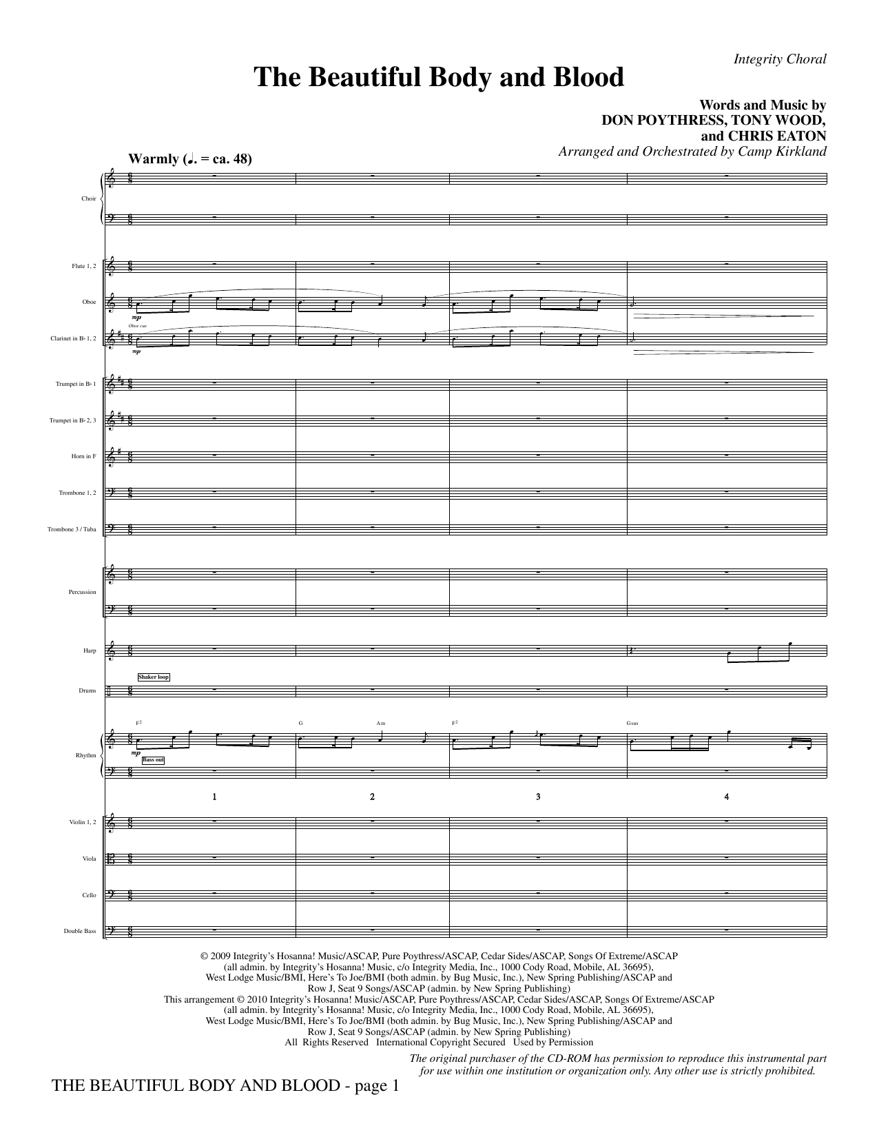 The Beautiful Body And Blood (complete set of parts) sheet music for orchestra/band (Orchestra) by Camp Kirkland, Chris Eaton, Don Poythress and Tony Wood. Score Image Preview.