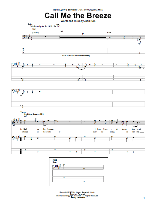Tablature guitare Call Me The Breeze de Lynyrd Skynyrd - Tablature Basse