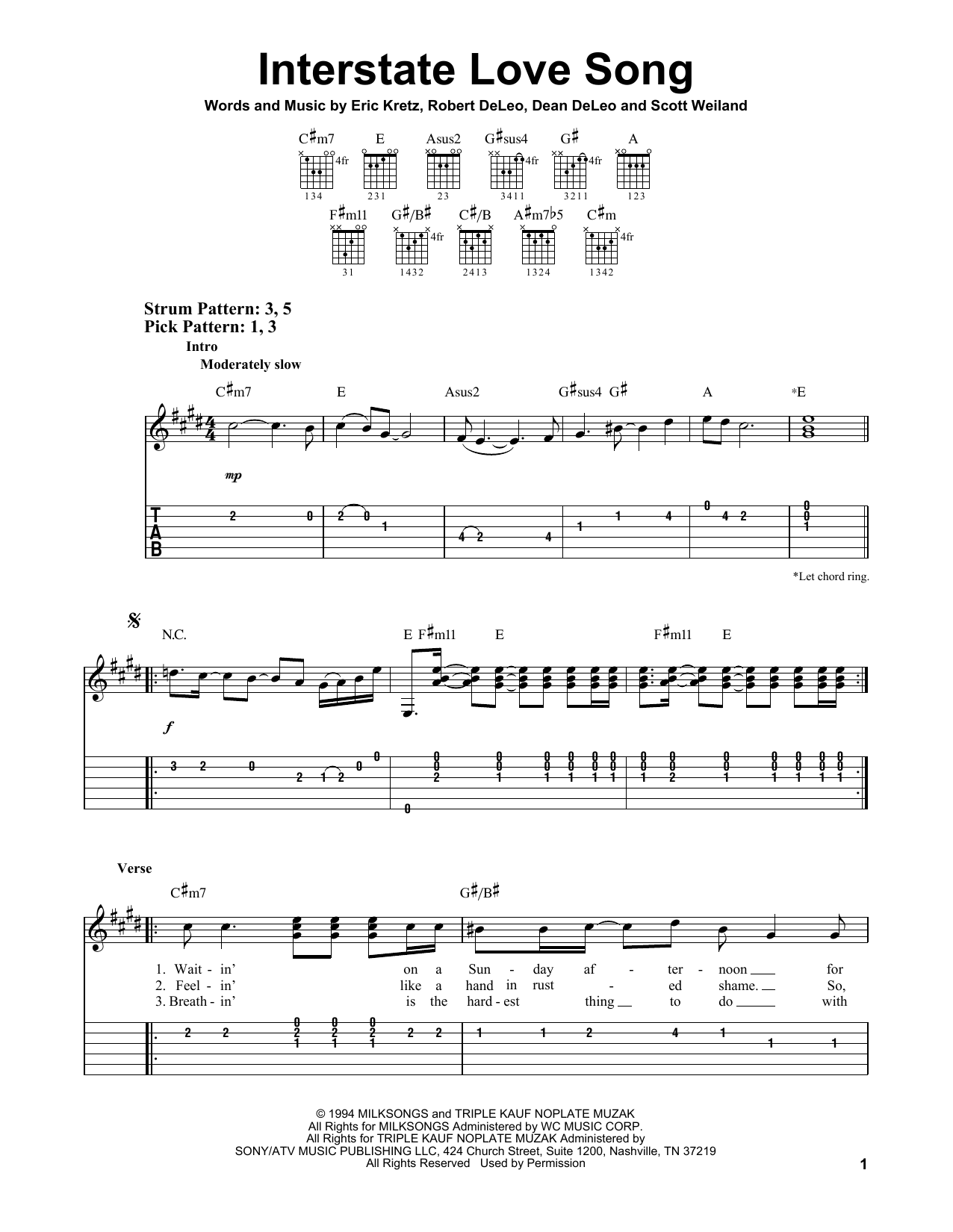 Tablature guitare Interstate Love Song de Stone Temple Pilots - Tablature guitare facile
