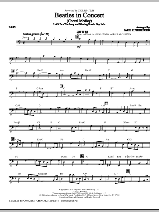 Beatles In Concert (Medley) - Bass (Choir Instrumental Pak)