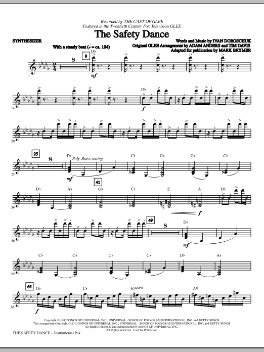 The Safety Dance - Synthesizer Sheet Music