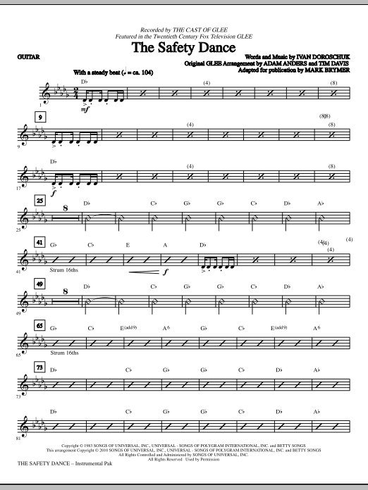The Safety Dance - Guitar Sheet Music