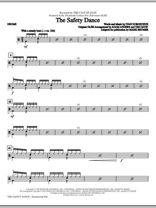 The Safety Dance - Drums (Choir Instrumental Pak)