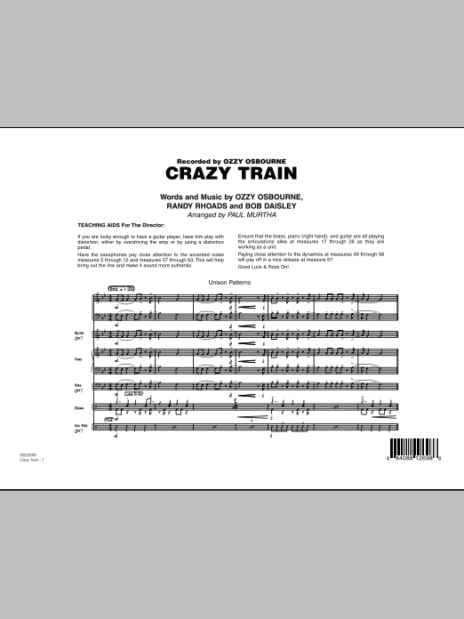 Crazy Train (COMPLETE) sheet music for jazz band by Ozzy Osbourne, Randy Rhoads and Paul Murtha. Score Image Preview.